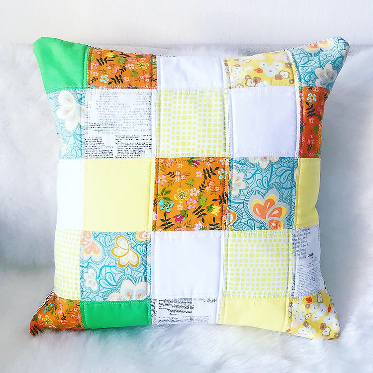 Sewing: Vintage Square Quilted Cushion Cover (Front)